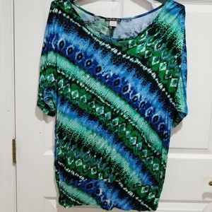 Blue and Green Tie dye style Tunic